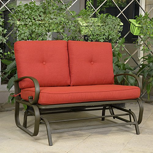 Cloud Mountain Patio Glider Bench Outdoor Cushioed 2 Person Swing Loveseat Rocking Seating Patio Swing Rocker Lounge Glider Chair, Brick Red