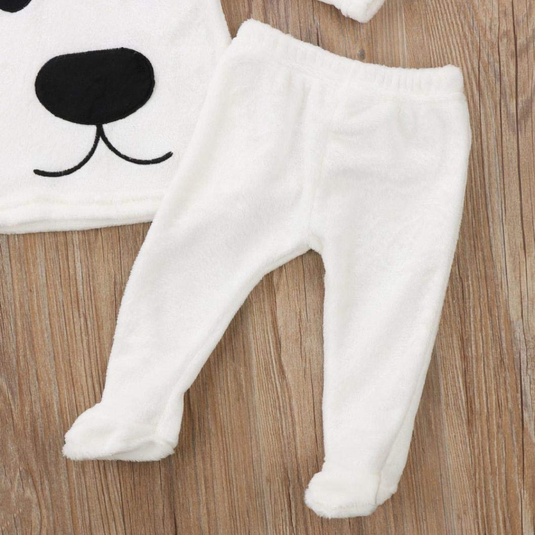 3Pcs Winter Newborn Baby Girl Boy Cartoon Tops Pants Outfits Fluffy Warm Clothes Palarn Baby Clothes