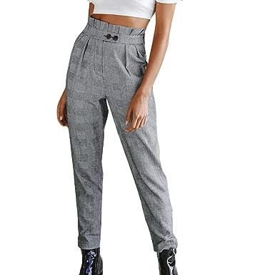 45c36a8a3fdd6f Women's Cigarette Trousers, Button High Waist Stripe Print Pants  by-NEWONESUN at Amazon Women's Clothing store: