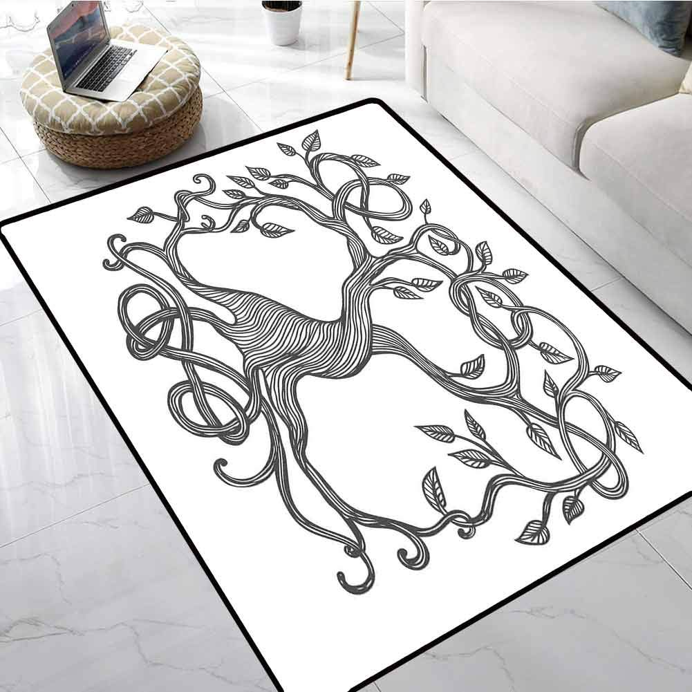 Celtic Outdoor Carpet Sketchy Figure of A Single Celtic Tree of Life with Swirly Long Branches and Roots Office Chair Floor Mat Foot Pad 60 X 72 Inch
