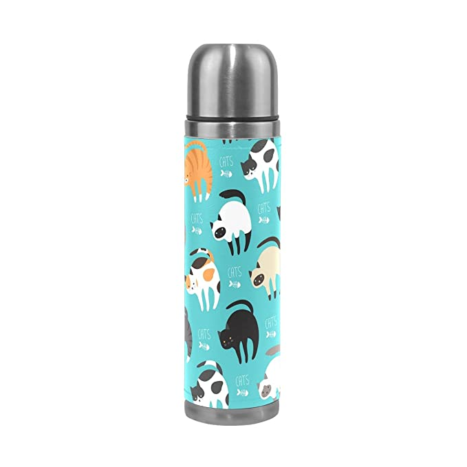 Amazon.com : JSTEL Cartoon Cat Breed Set Stainless Steel Water Bottle Vacuum Insulated Leak Proof Double Vacuum Bottle for Hot Coffee or Cold Tea + Drink ...