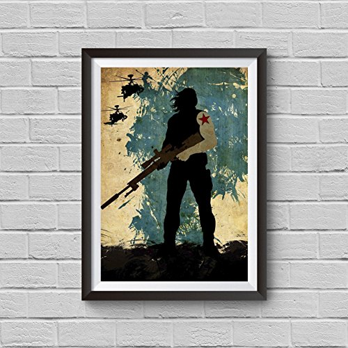 Winter Soldier Bucky Barnes Vintage Poster Marvel Prints Artwork Wall Art Print Home Decor