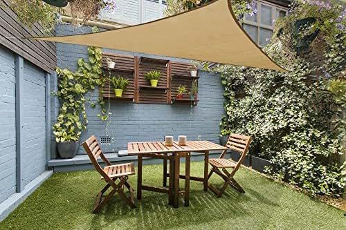 LOVE STORY 12' x 12' x 12' Triangle Sand UV Block Sun Shade Sail Perfect for Outdoor Patio Garden