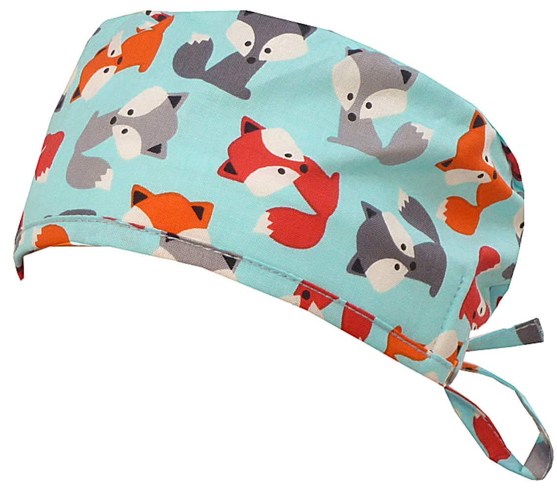 Mens and Womens Surgical Scrub Cap - Friendly Foxes by Sparkling Earth
