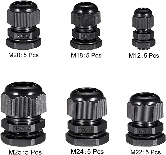 uxcell 20 Pcs M32 Waterproof IP68 Nylon Cable Gland Joint Adjustable Locknut for 16mm-21mm Dia Cable Wire