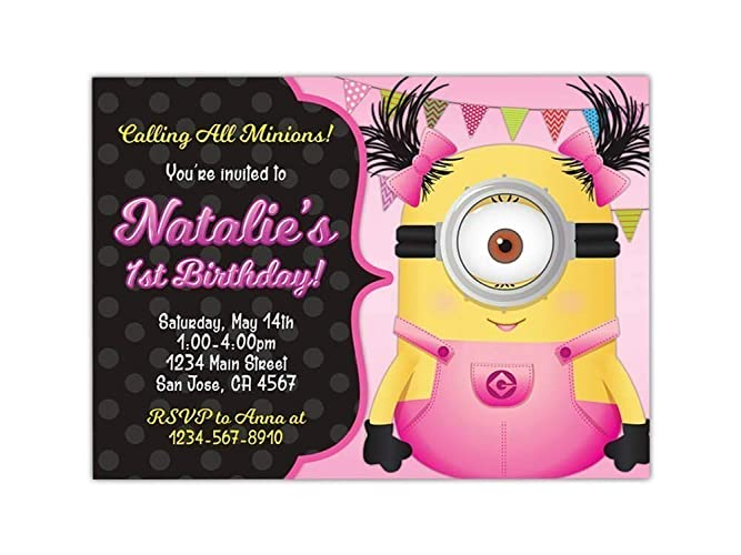 Custom Girl Minion Birthday Party Invitations For Kids 10pc 60pc 4x6 Or 5x7 Cards With White Envelopes Printed On Premium 265gsm Card Stock