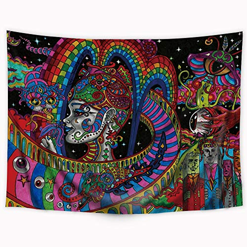 Wowzone Psychedelic Tapestry Ancient Egyptian Tapestry Black Light Hippie Colorful Arabesque Tapestry Retro Civilization Abstract Bohemian Boho Wall Hanging Indigenous Bedroom Living Room 51x59 -