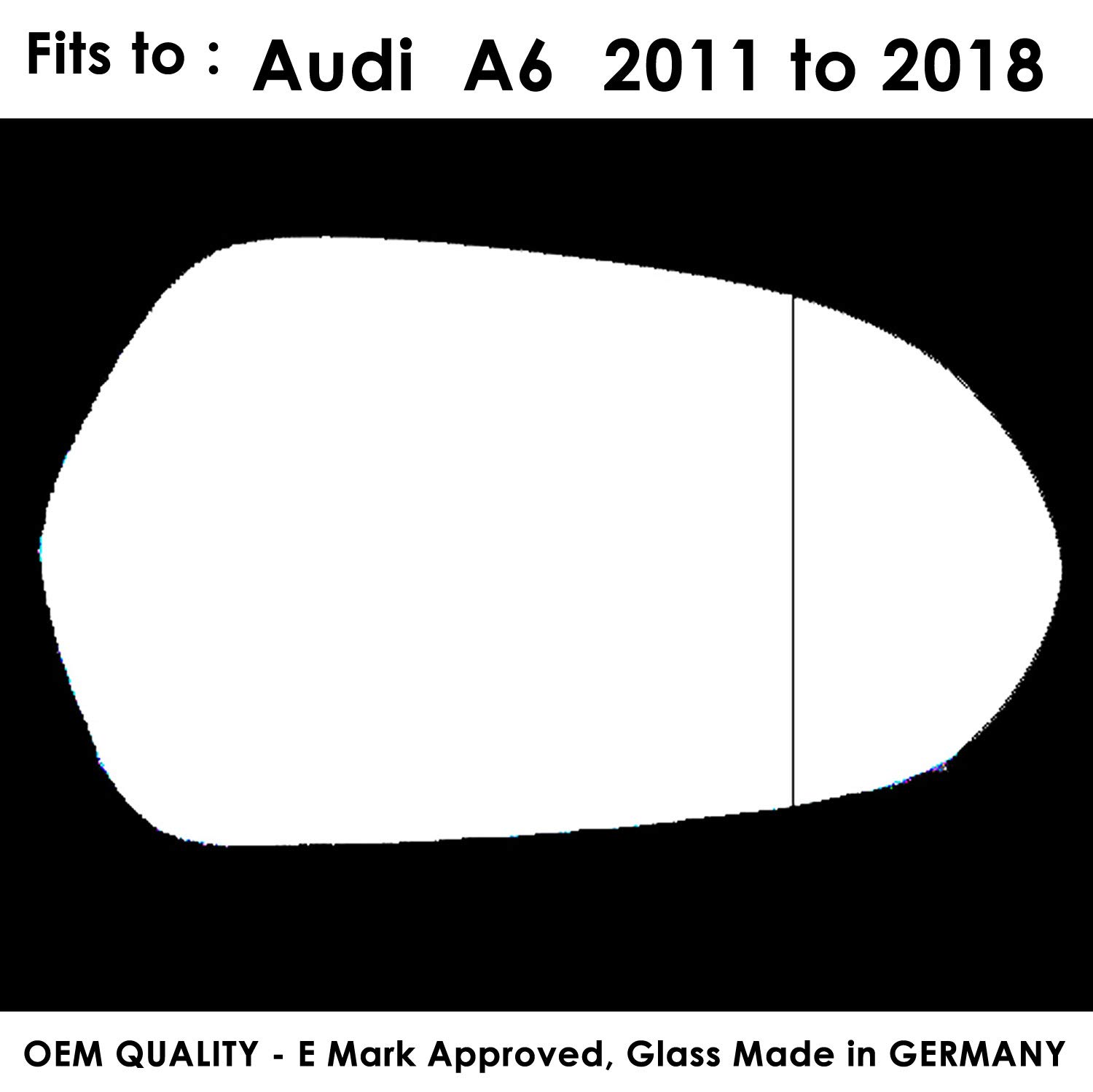 A6Wing Mirror Glass, RH(Driver Side) Fits to Car Reg 2011 to 2016