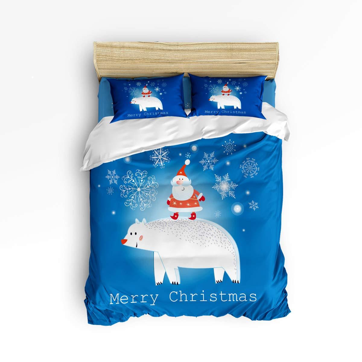 メリークリスマステーマサンタクロース布団カバー寝具4点セット 枕カバー2枚 ウルトラソフト 低刺激性マイクロファイバー(掛け布団なし) キング 20181116LTTTMSJTBCSSWTQ00547SJTDTMY B07KW773BY Santaclaus43tmy4158 キング