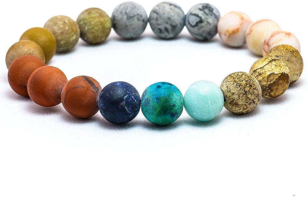 EXINOX Pulsera de Cuentas de Piedra Natural de Chakras | Hombre Mujer | Multicolor Astros Planetas
