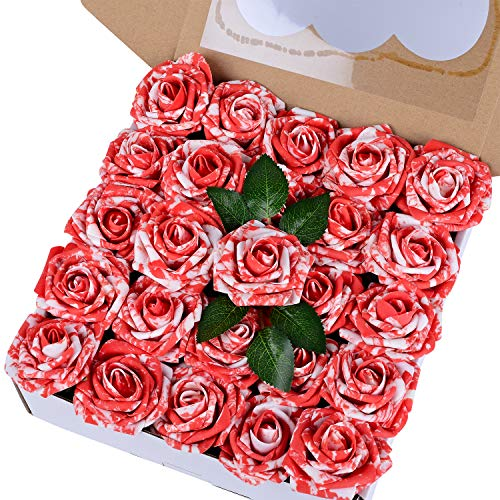 Baby Shower Bouquets - Breeze Talk Artificial Flowers Red & White Roses 50pcs Realistic Fake Roses w/Stem for DIY Wedding Bouquets Centerpieces Arrangements Party Baby Shower Home Decorations (50pcs Red & White)