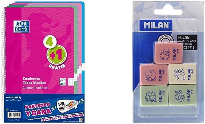 Oxford 400072719 - Cuadernos espiralados, varios colores, paquete de 5 unidades + Milan BMM9222 - Pack de 5 gomas de borrar: Amazon.es: Oficina y papelería