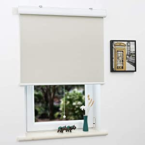 """SUNFREE Blackout Window Shades Cordless Roller Shades for Window and Door, Home and Office, Beige(Upgrade Version), 27""""(W) x 72""""(H)"""