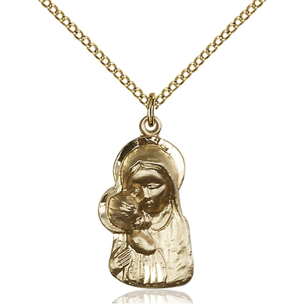 Gold Filled Madonna & Child Pendant 7/8 x 1/2 inches with Gold Filled Lite Curb Chain