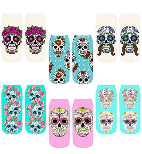 Footalk Women's 3D Cartoon Print Funny Smiley Casual Crazy Novelty Ankle Socks Value Pack (skull 1)