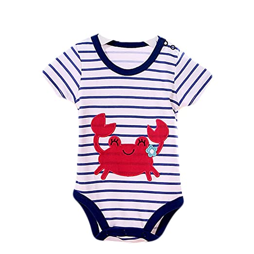 f3993733fb7 Image Unavailable. Image not available for. Color  Kylin Express Baby  Organic Pure Cotton Summer Short Sleeve Bodysuit to 12M Crab