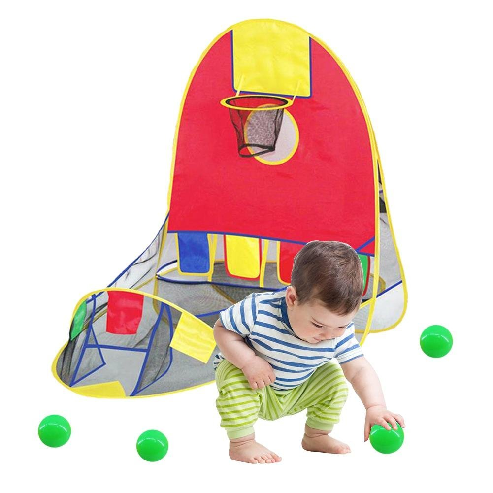 Kinder Spielzelt Faltbarer Pop Up Basketballkorb Tragbares Spielhaus Innen Draussen B/ällebad