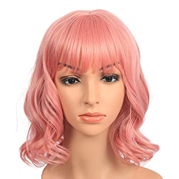 Short Pink Wig For Women Ladies Girls Heat Resistant 12inch 160Gram  Synthetic Hair Shoulder Length Bob Curly Wave Cosplay Costume Wigs with Air  Bangs  ... d90a8329ab