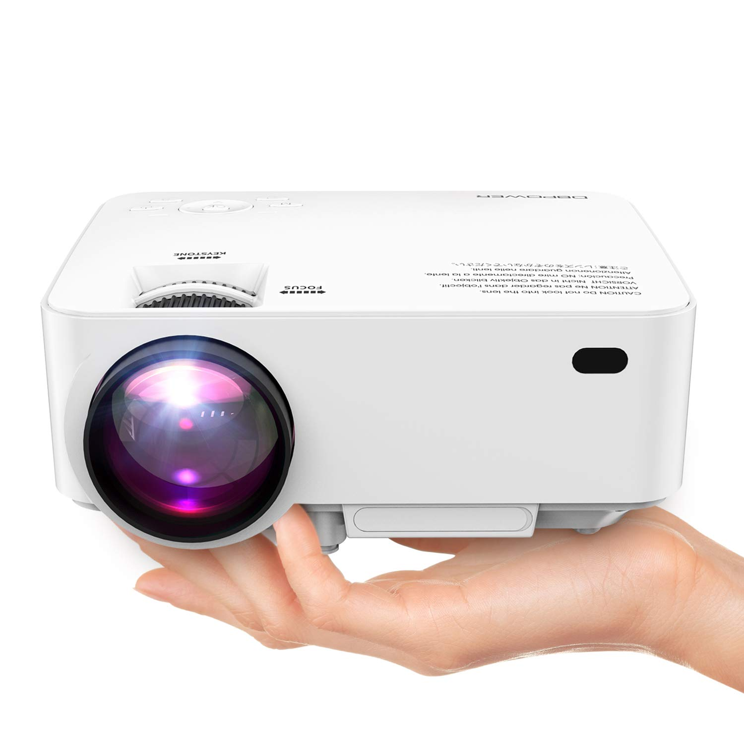 DBPOWER Mini Projector (PREAD Lamp Solution), 50% Brighter Full HD LED Movie Projector with 176'' Display, 2018 Custimized for Home Theater, Compatible with Smartphone,1080p/HDMI/Supported by DBPOWER
