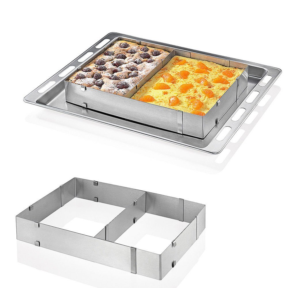 Hanperal Adjustable Square Stainless Steel Mousse Cake Square Cake Ring Bakeware Tool COMIN18JU004818