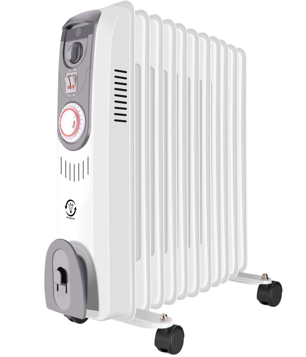 MODERN LIFE 3kw 11 Fins Oil Filled Radiator Portable Electric Heater with Adjustable Thermostat, 3 Heat Settings, 24 Hour Timer, Thermal Safety Cut off and Overheat Protection