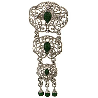 a2af7606c YAZILIND Hollow Water Drop Shape Brooch Alloy Pin Inlaid with Rhinestone  Women Wedding Jewelry (Silver