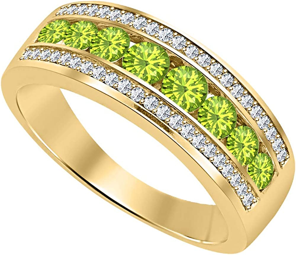 tusakha 18K Black Gold Over .925 Sterling Silver Three Row Round Channel Green Peridot /& Diamond 8mm Wedding Band Ring 1.2 Ct