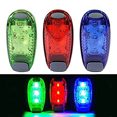 Efanr 3Pcs LED Flash Light Outdoor Sports Warning Lights Lighting Strobe and Steady Color Flash Mode Safety Props Gear for Running Jogging Walking Spinning or Biking (Red+ Blue+ Green)