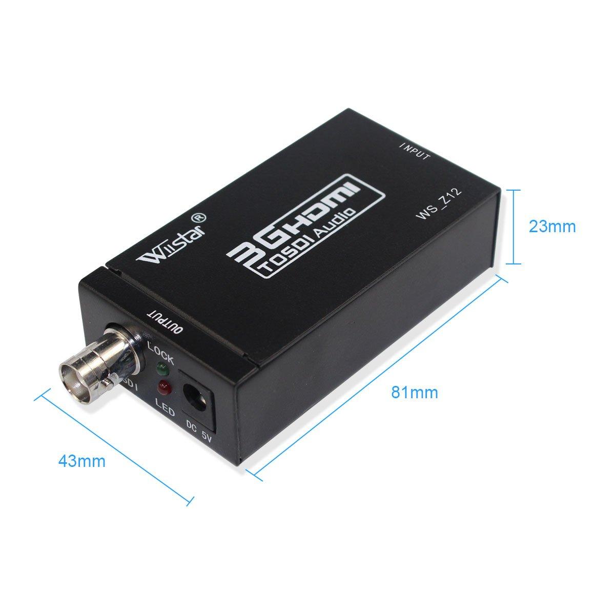 Mini HDMI to SDI Audio Video Converter BNC 3G-SDI SD-SDI HD-SDI Adapter Support 720P 1080P for Camera Home Theater Monitora