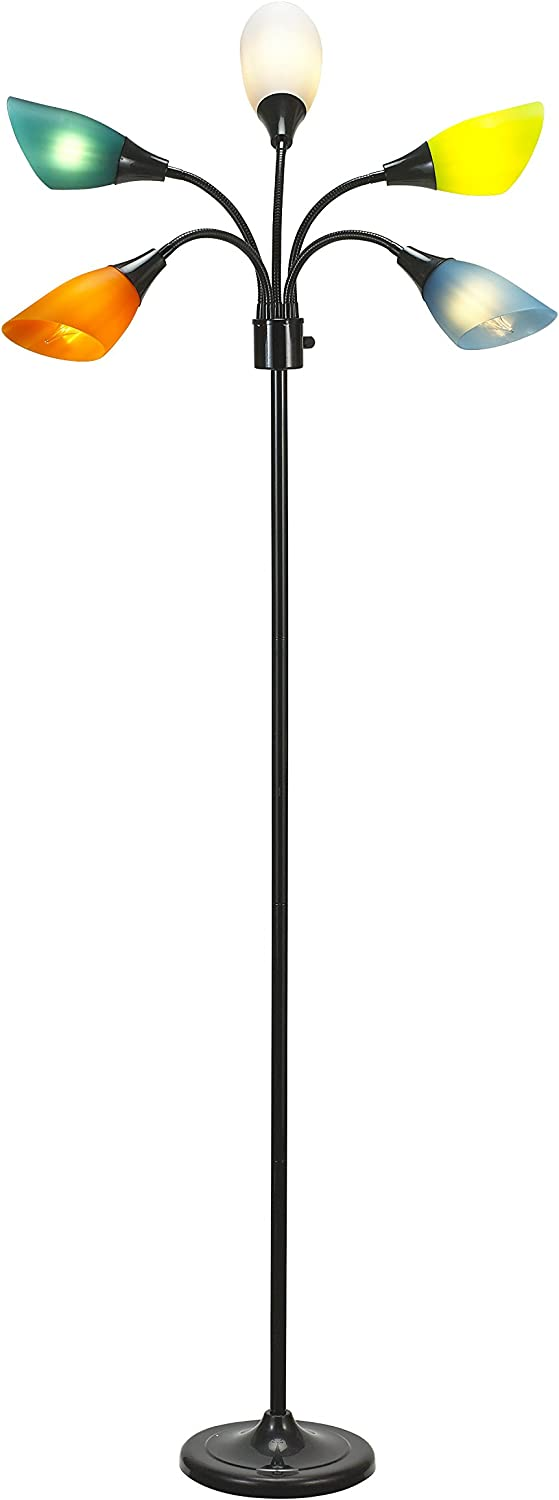 Catalina Lighting Medusa 5 Floor Lamp with Adjustable, Black Base with Colored Shades, 20744-000