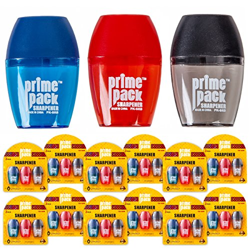 Pack Sharpener (PRIMEPACK Pencil Sharpener with Bin | Bulk pack of 36 - Cute Student Professional Sharpeners for Colored, Standard, Black, Drawing, Lead, Eyebrow Pencils - Office Supplies - Colors Blue, Red, Black)