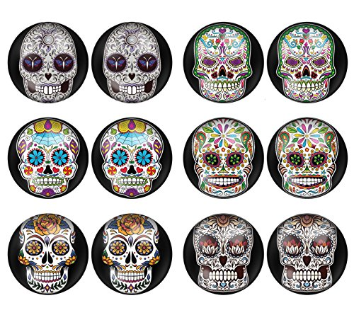 LilMents 6 Pairs Sugar Skull Black Pattern Mens Womens Stainless Steel Stud Earrings Set (Set A) -