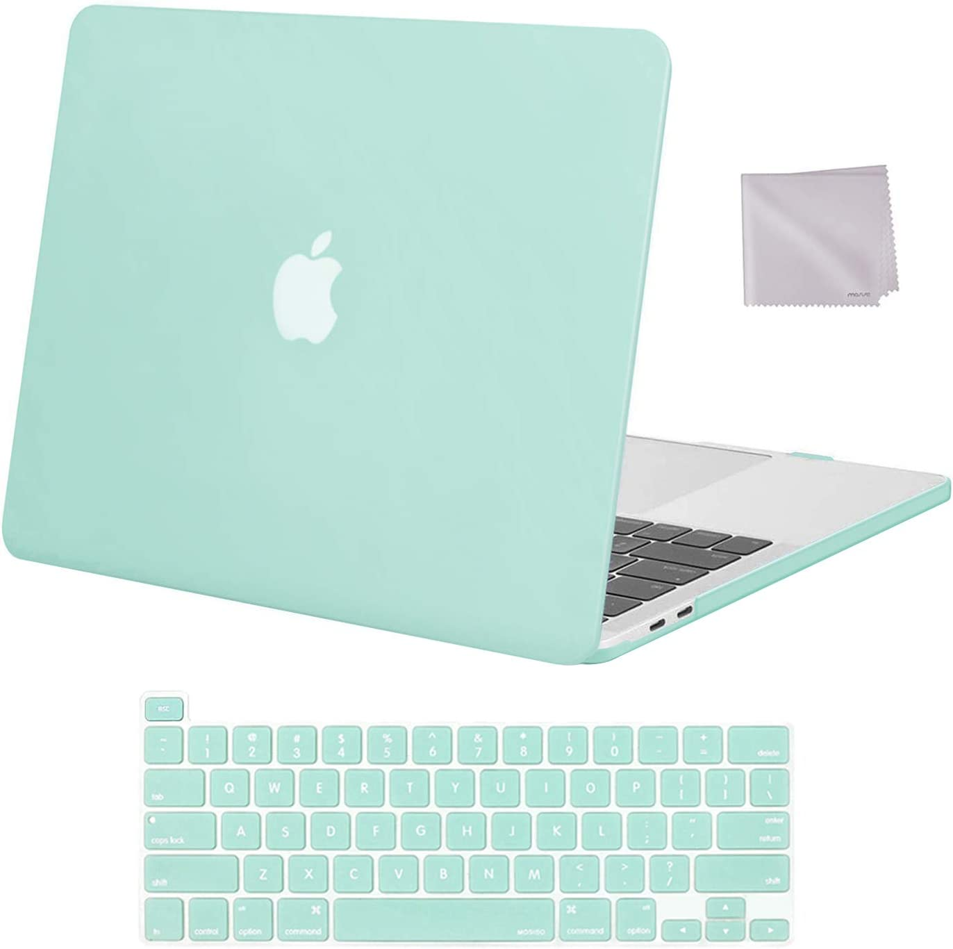 MOSISO Compatible with MacBook Pro 13 inch Case 2016-2020 Release A2338 M1 A2289 A2251 A2159 A1989 A1706 A1708, Plastic Hard Shell Case & Keyboard Cover Skin & Wipe Cloth, Mint Green