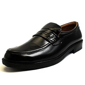 [ルミニーオ] ビジネスシューズ メンズ 防水 紳士靴 雨 メッシュ ブランド 靴 ビジネス 就活 フォーマル 黒 軽量 歩きやすい lufo62 (28.0, 62(ローファー))