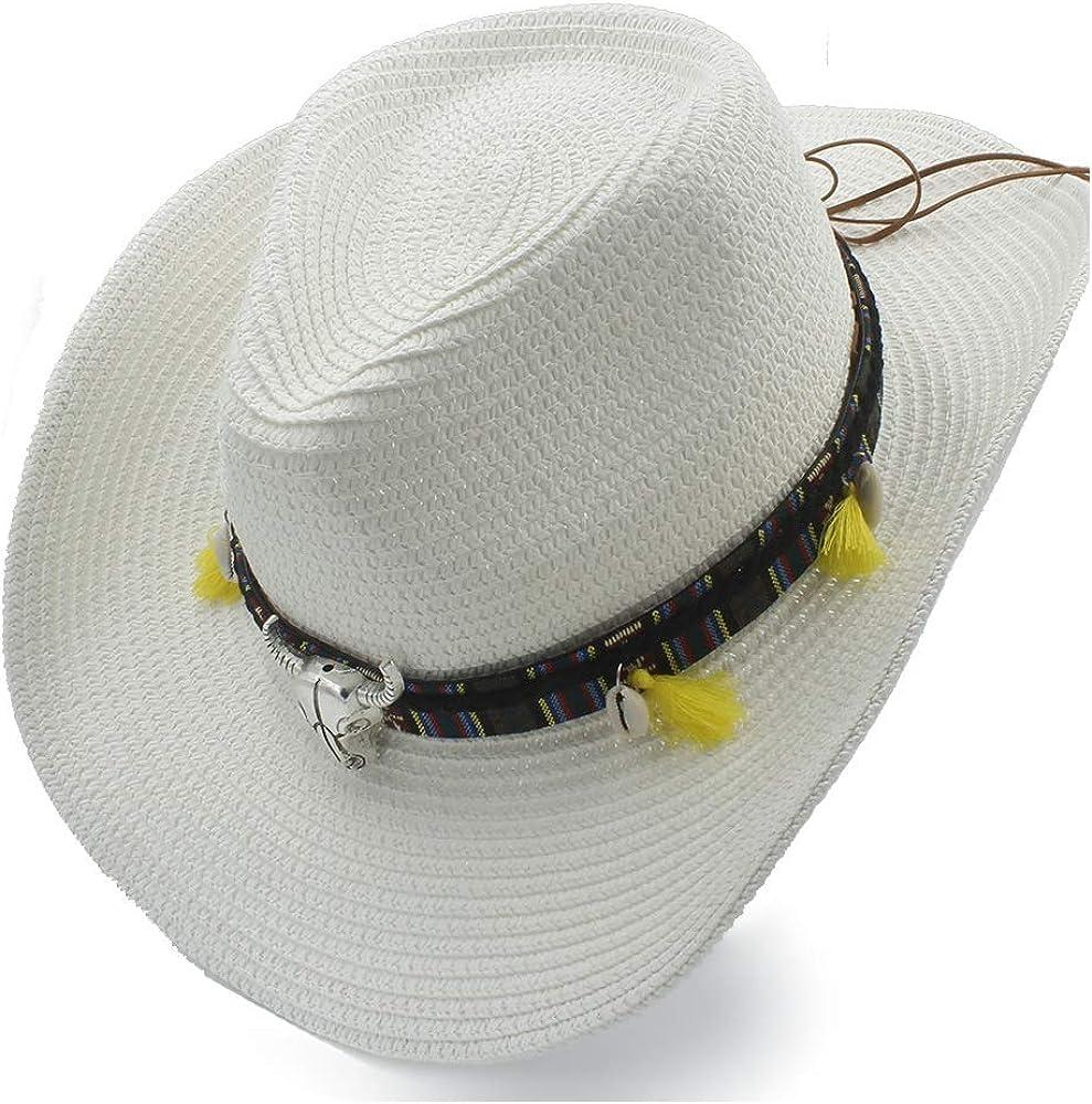 Excellent Summer Sun Hat Raffia Hat Cowboy Hat Ladies Daily Leather Belt Cow Head Shell Stalk Hat Panama Hat Men