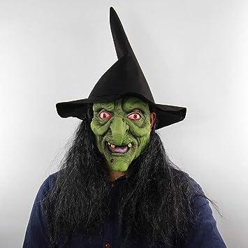 Cabeza Verde Pelo Canoso Terror Máscara De Bruja Y Cabello Jersey De Halloween Terror Cosplay Látex
