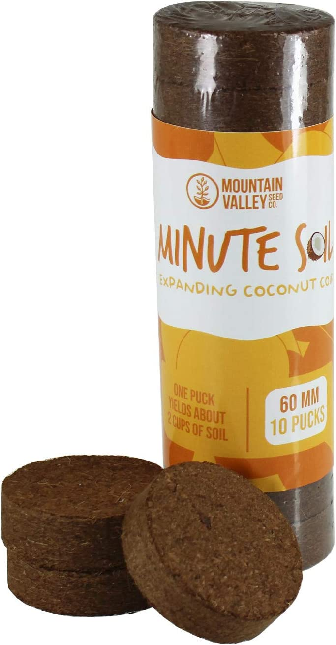 Minute Soil - Compressed Coco Coir Fiber Grow Medium - 60 MM Disks - 10 Pack = 5.5 Quarts of Potting Soil - Indoor Container Gardening: Seed Starting, Plants, Herbs, More - Just Add Water - OMRI