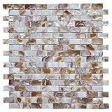 Art3d Mother of Pearl Oyster Herringbone Shell Mosaic Tile for Kitchen Backsplashes, Bathroom Walls, Spas, Pools Pack of 6