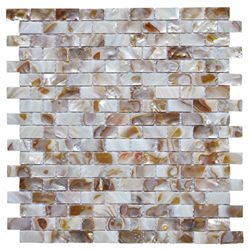 Kitchen Backsplash Tile Ideas - Art3d Mother of Pearl Oyster Herringbone Shell Mosaic Tile for Kitchen Backsplashes, Bathroom Walls, Spas, Pools Pack of 6