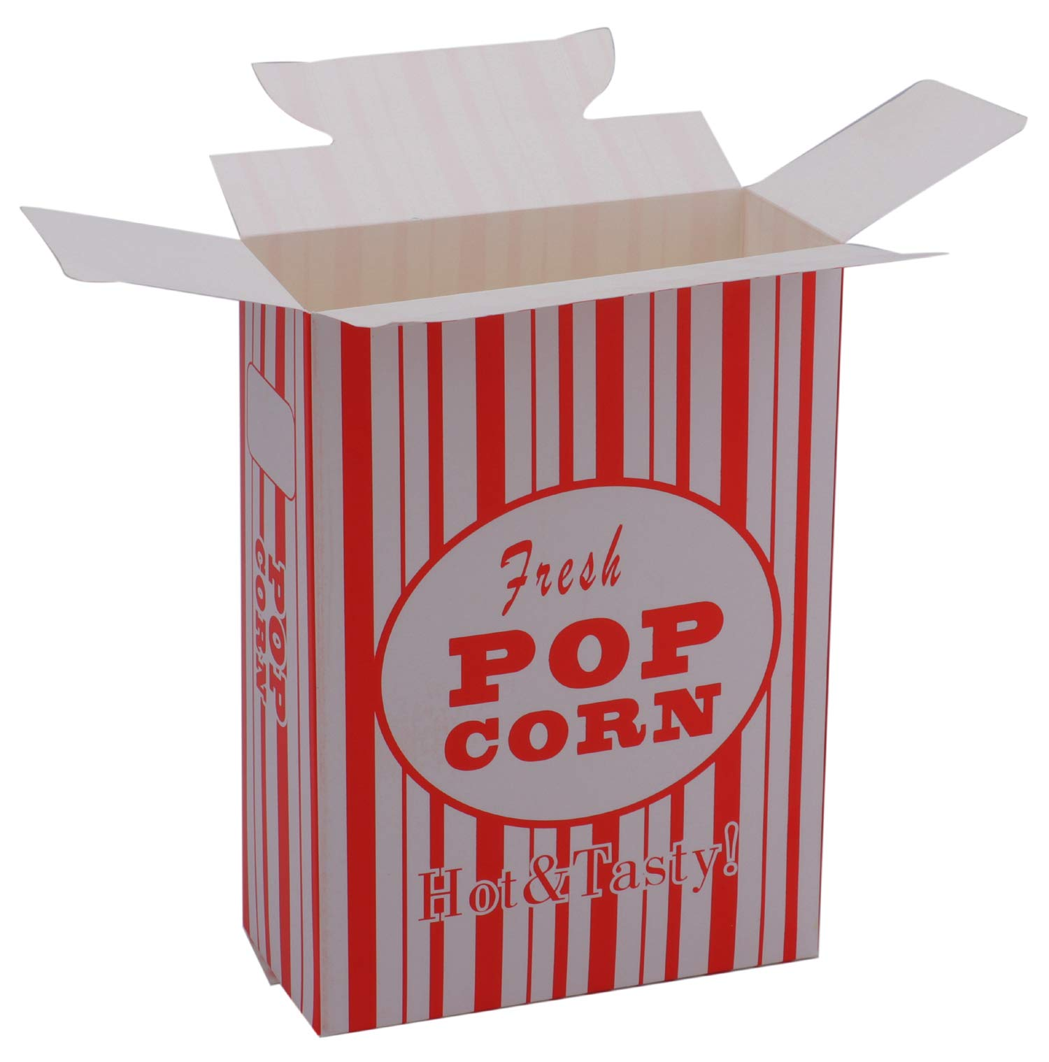 Bekith 100/Case Close-Top Popcorn Box, Red and White Stripes Classic Design by Bekith (Image #2)