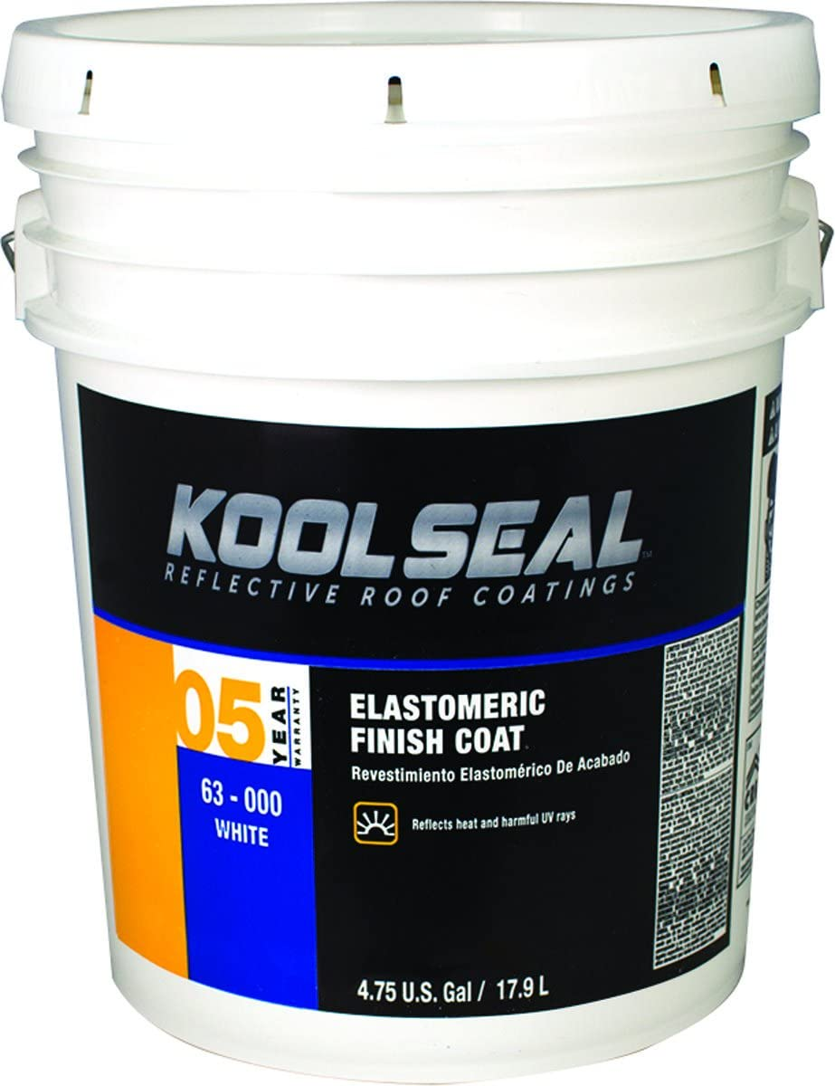KST KS0063300-20 Kool Seal Elastomeric Finish Coat, White, 7 year, 5 gallons