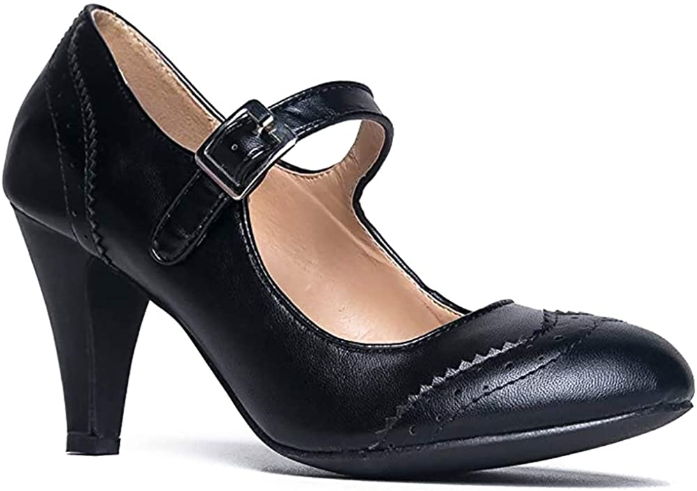 Retro Patent Leather Round toe Ankle Strap Womens Mary Jane Shoes Pumps US Size