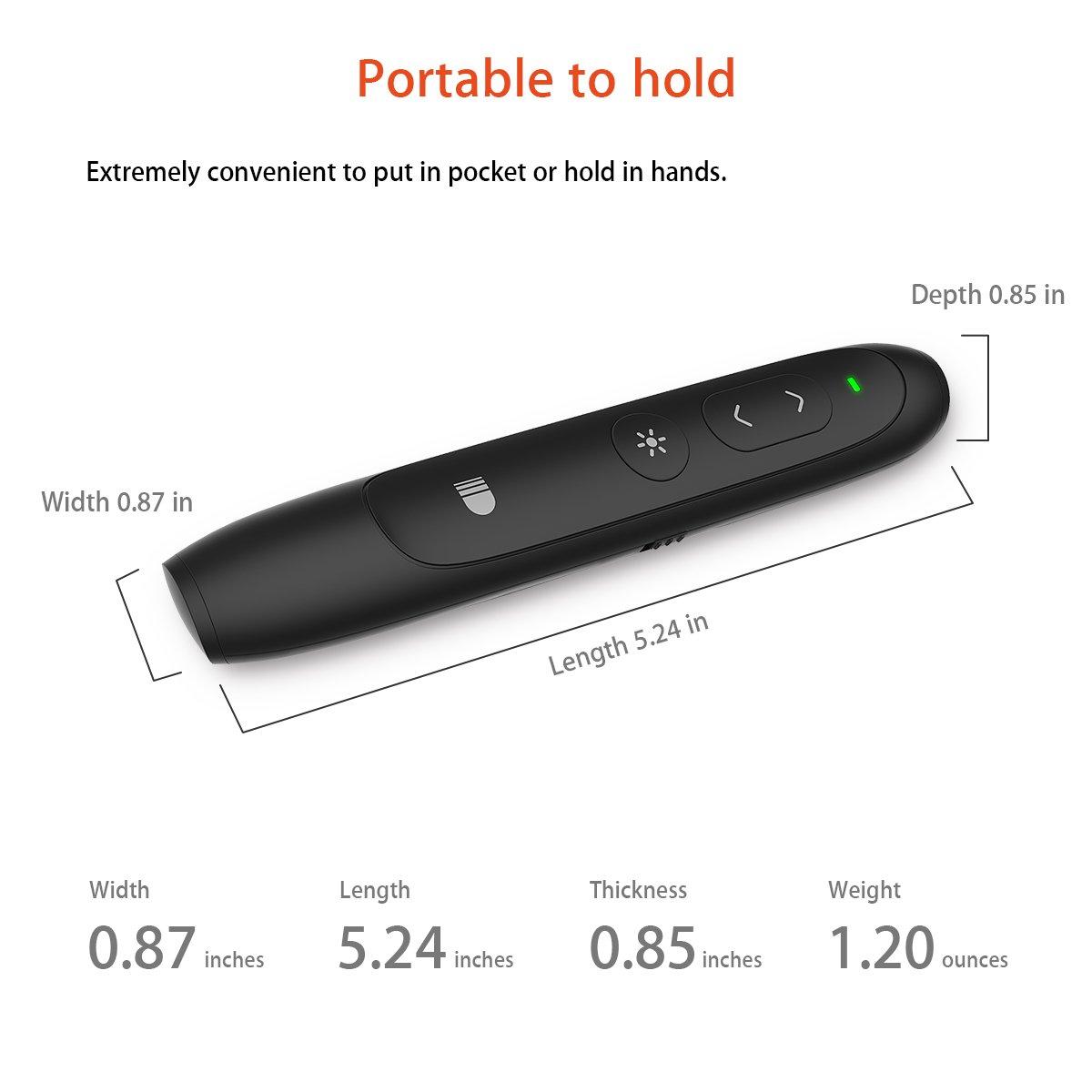 Nero Doosl Telecomando Presentazioni Penna 2.4GHz Powerpoint Presentazione Telecomando per Slide Presentatore Wireless