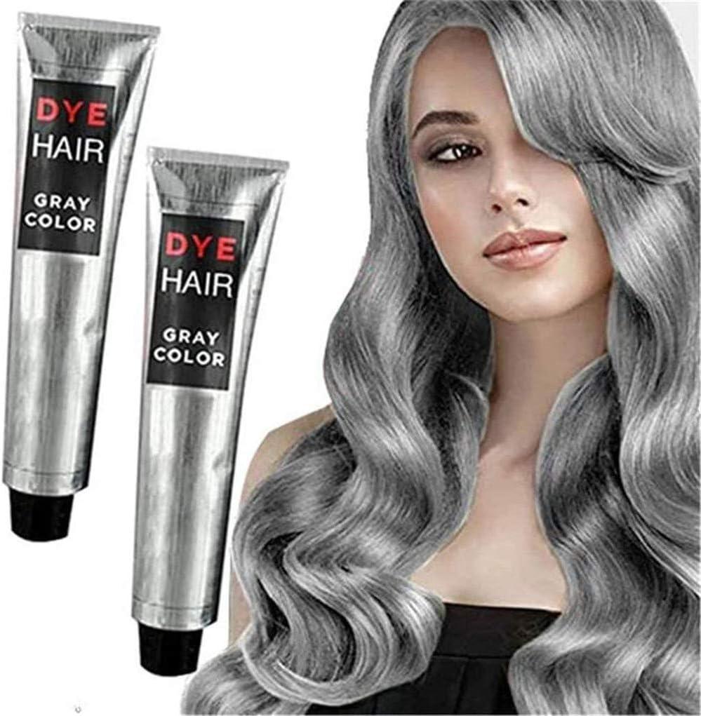 ZJXAM Unisex DIY Fashion Grey Silver Color Super Grey Dye Hair Cream 100ml, Unisex Grey Hair Dye Cream, Hair Cream Fashion Permanente Punk Hair Dye ...