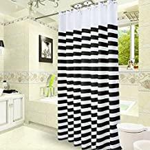 Uforme Hotel Decor Color Ombre Stripe Shower Curtain Polyester Waterproof and Mildew Resistant with Hooks,Black/ White, Extra Long 72 by 78