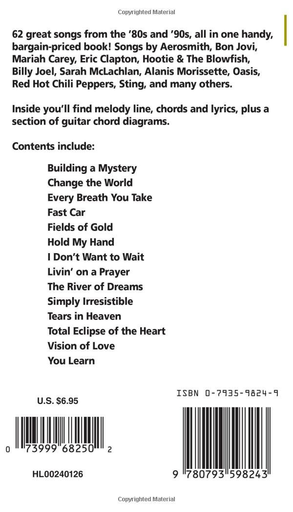80s & \'90s Rock: Melody Line, Chords and Lyrics for Keyboard, Guitar ...