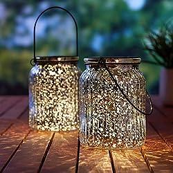 Solar Mercury Glass Mason Jar - 2 Pack Sunwind Silver Table Lamp Hanging Indoor Outdoor Lights for Garden, Patio Decoration(Silver)