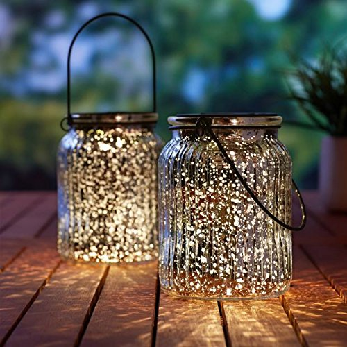 SUNWIND Solar Mercury Glass Jar Lights – 2 Pack Silver Table Lamps Hanging Indoor Outdoor Lights for Patio Garden Lawn Wall Decor (Silver1)