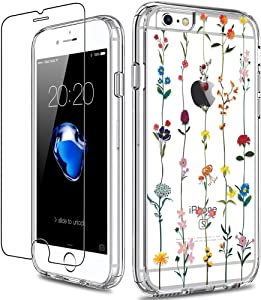 GiiKa iPhone 6 6s Case with Screen Protector, Clear Heavy Duty Protective Case Floral Girls Women Shockproof Hard PC Back Case with Slim TPU Bumper Cover Phone Case for iPhone 6s, Colorful Flowers