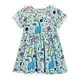 BOBORA Toddler Girls Dresses Cartoon Dinosaur Dresses Kids Short Sleeved Dress Size 1-7Years